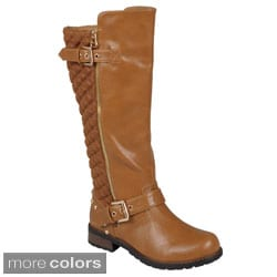 Journee Collection Women's 'Maka' Quilted Knee-High Buckle-Strap Riding Boots
