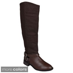Journee Collection Women's 'Lynnwood' Knee-High Buckle-Strap Riding Boots