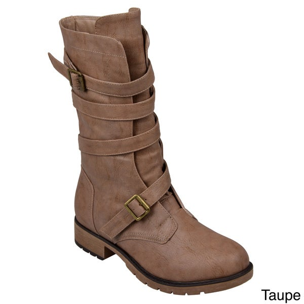 Hailey Jeans Co. Women's 'Jennica' Buckle-Strap Mid-Calf Motorcycle Boots 11706122