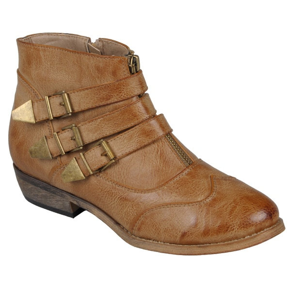 Journee Collection Womens 'Host' Buckle-Strap Ankle Motorcycle Boots