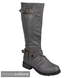 Journee Collection Women's 'Hope' Round Toe Mid-Calf Buckle-Strap Riding Boots