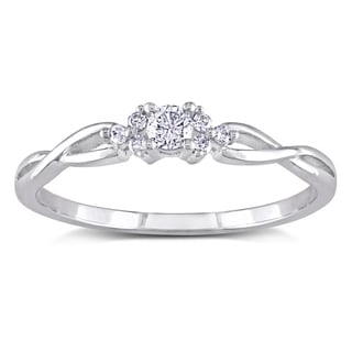 Miadora 10k White Gold 1/6ct TDW Braided Diamond Ring (H-I, I2-I3)