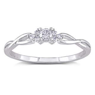 Miadora 10k White Gold 1/6ct TDW Infinity Diamond Engagement Ring (H-I, I2-I3)