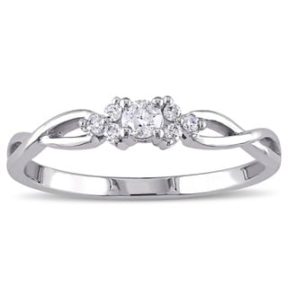 Miadora 10k White Gold 1/6ct TDW Infinity Diamond Promise Ring (H-I, I2-I3)