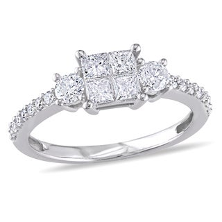 Miadora 10k White Gold 3/4ct TDW Diamond Engagement Ring (H-I, I2-I3)