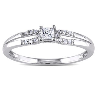 Miadora 10k White Gold 1/6ct TDW Diamond Promise Ring (H-I, I2-I3)