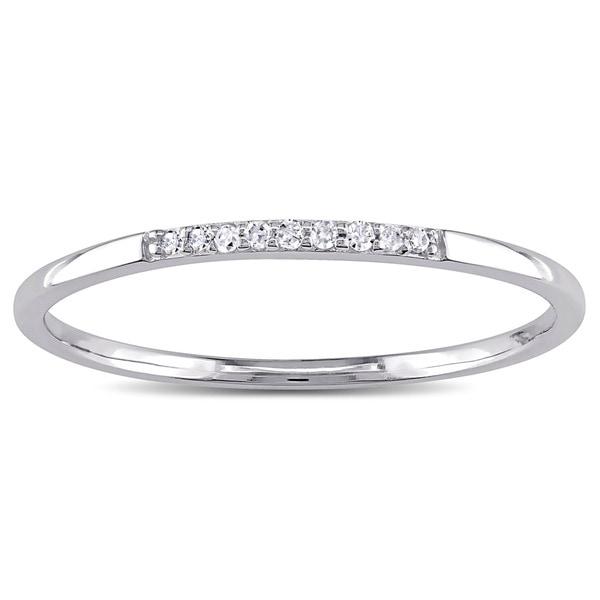 Miadora 10k White Gold Diamond Stackable Wedding Band Ring (G-H, I2-I3)
