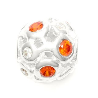 Sterling Silver Orange and Clear Crystal Bead