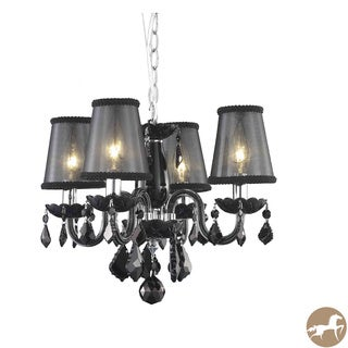 Rococo 4-Light Black Chandelier with Crystals and Shades