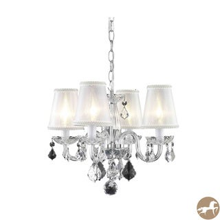 Rococo 4-Light Chrome Chandelier with Crystals and Shades