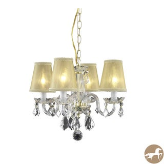 Somette 4-Light Gold Hanging Chandelier with Crystals and Shades