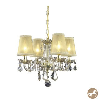 Rococo 4-Light Golden Shadow Crystal Chandelier with Shades