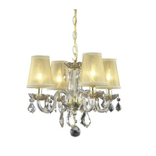 Somette 4-Light Golden Shadow Crystal Chandelier with Shades