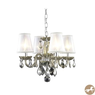 Rococo 4-Light Golden Teak Chandelier with Crystals and Shades