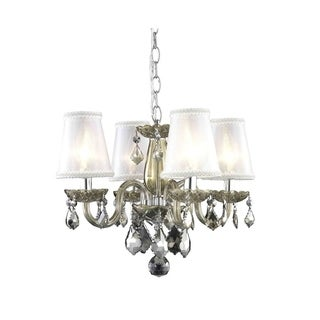 Somette 4-Light Golden Teak Chandelier with Crystals and Shades