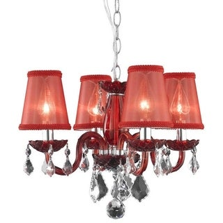 Somette 4-Light Red Chandelier With Crystals and Shades