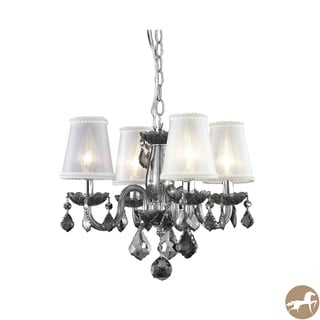 Rococo 4 Light Silver Shade Hanging Chandelier with Crystals