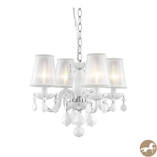 Rococo 4-Light White Chandelier with Crystals and Shades