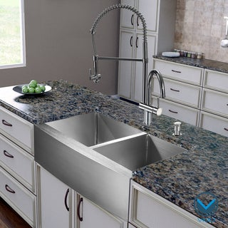 Vigo All-in-one 36-inch Farmhouse Stainless Steel Double Bowl Kitchen Sink and Chrome Faucet Set