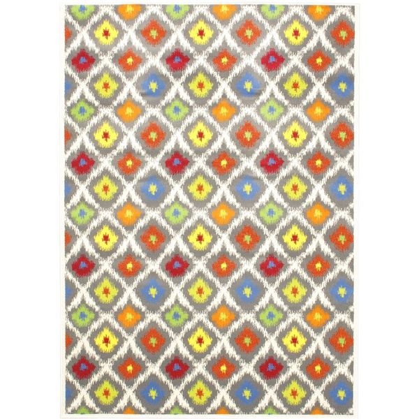 Chroma Glow Abstract Cream Area Rug (5'5 x 7'9)