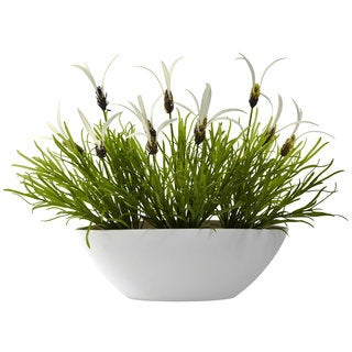 Grass and White Floral Arrangement and White Planter (Indoor/Outdoor)