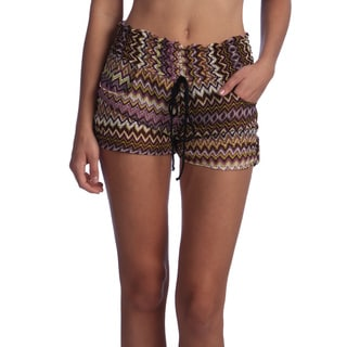 Juniors Purple Tribal Printed Chiffon Shorts