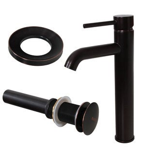 Elite F371023ORB Oil-rubbed Bronze Tall Single Handle Bathroom Vessel Faucet and Pop-up Drain