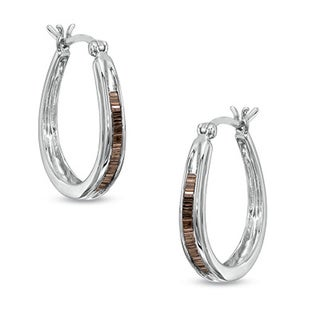 Sterling Silver 1/4ct TDW Baguette-cut Champagne Diamond Hoop Earrings
