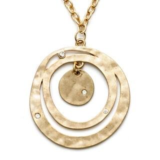 Alexa Starr Goldtone White Rhinestone Hammered Circle Necklace