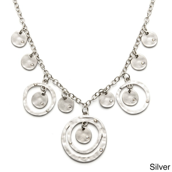 Alexa Starr Metal White Rhinestone Hammered Circle Bib Necklace
