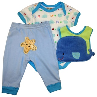 Dulce Baby Infants Boy Blue Whale Bib Set