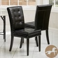 Christopher Knight Home Crayton Black Leather Dining Chair (Set of 2)