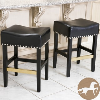Christopher Knight Home Louigi Black Leather Backless Counter Stool (Set of 2)