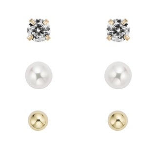 Pearlyta 14k Gold Children's Ball, CZ and FW Pearl Earring Set (5-6 mm) with Gift Box