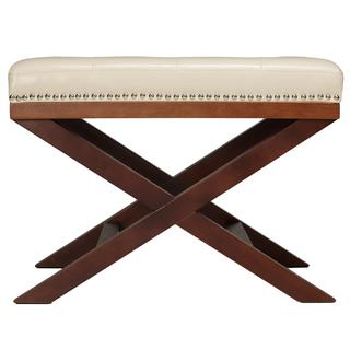 Kayla Cream and Walnut Traditional X-Leg Bench Ottoman