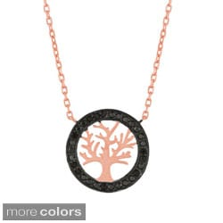 Sterling Silver Black Cubic Zirconia Tree Necklace