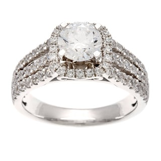 14k White Gold 1 3/4ct TDW Certified Diamond Triple Row Ring (H-I, I1)