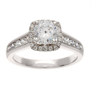 14k White Gold Certified 1 1/2ct TDW Diamond Halo Engagement Ring (H-I, I1)