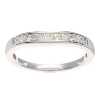 14k White Gold 1/3ct TDW Princess Channel Set Diamond Band (H-I, I1-I2)