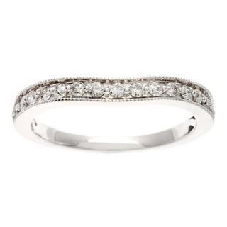 14k White Gold 1/4ct TDW Curved Round Cut Diamond Wedding Band (H-I, I1-I2)