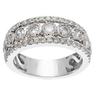 14k White Gold 1ct TDW Certified Bezel Set Diamond Anniversary Band (H-I, I1-I2)