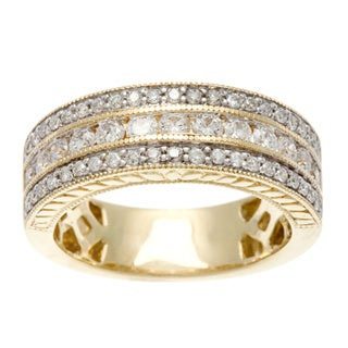 14k Yellow Gold 1ct TDW Certified Round Multi Row Diamond Band (H-I, I1-I2)