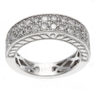 14k White Gold 1ct TDW Certified Double Row Diamond Anniversary Band (H-I, I1-I2)