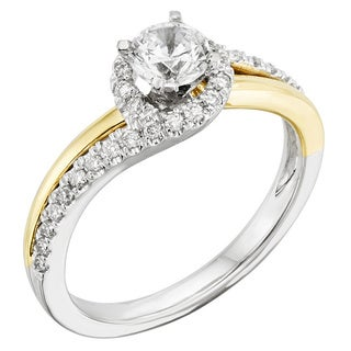14k Gold 3/4ct TDW Certified Two Tone Halo Diamond Engagement Ring (H-I, I1)