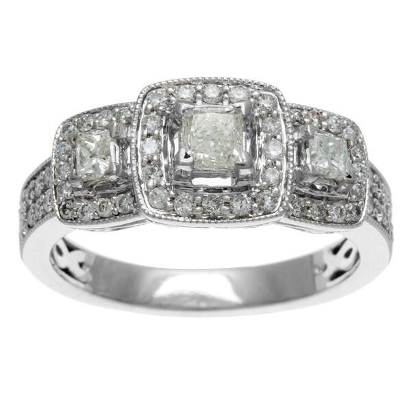 Sofia 14k White Gold 1ct TDW Certified Three Stone Princess Cut Diamond Engagement Ring (H-I, I1-I2)