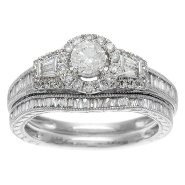 Sofia 14k White Gold 1ct TDW Certified Mixed Cut Baguette Diamond Bridal Ring Set (H-I, I1-I2)