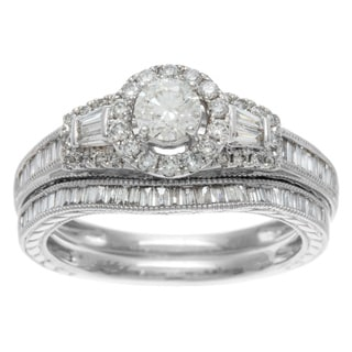 14k White Gold 1ct TDW Certified Mixed Cut Baguette Diamond Bridal Ring Set (H-I, I1-I2)
