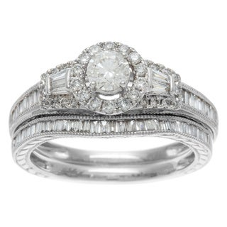 Sofia 14k White Gold 1ct TDW Certified Mixed Cut Baguette Diamond Bridal Ring Set (H-I, I1-I2)