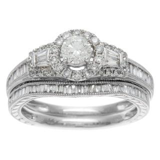 14k White Gold 1ct TDW Certified Mixed Cut Baguette Diamond Bridal Ring Set (H-I, I1-I2)