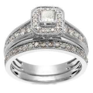 14k White Gold 1ct TDW Certified Princess Cut Diamond Bridal Set (H-I, I1-I2)